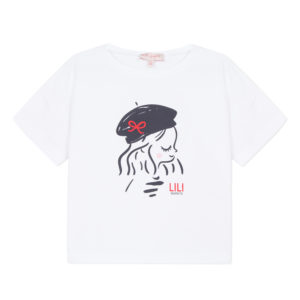 Lili Gaufrette Girls T-Shirt with Girl Print