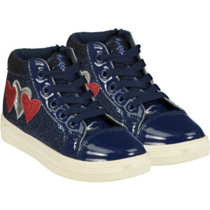 A*Dee Star Girls Silver Star High Top Trainers