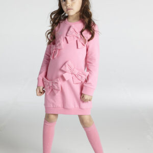 A*Dee Penny Girls Pink Candy Jumper Dress with Large Bows