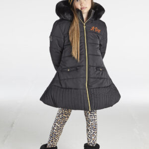 A*Dee Taylor Girls Black Padded Jacket with Faux Fur Hood