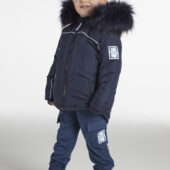 Mitch & Son McAlpine Baby Boy Navy Parka with piping and faux fur trim
