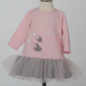 Daga Baby Girls Pink/Grey Dress with Feathers AW21