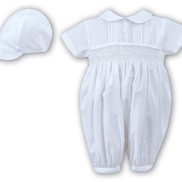 Sarah Louise Baby Girls White Ceremonial Christening Robe & Bonnet with Flowers and Bows AW21